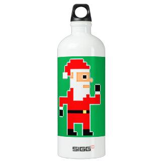 Pixel Santa Clause Water Bottle