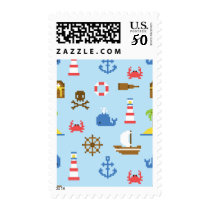 Pixel Sea Art Pattern Postage