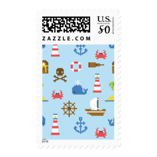Pixel Sea Art Pattern Postage