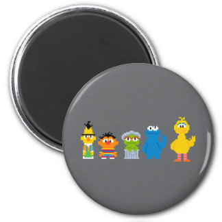 Pixel Sesame Street Characters Magnet