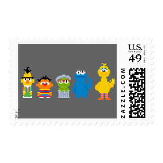 Pixel Sesame Street Characters Stamp