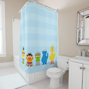 Pixel Sesame Street Characters Shower Curtain