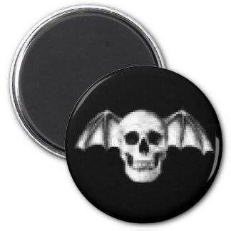 Pixel Skull with Bat Wings Magnet