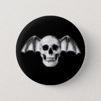 Pixel Skull with Bat Wings Pinback Button