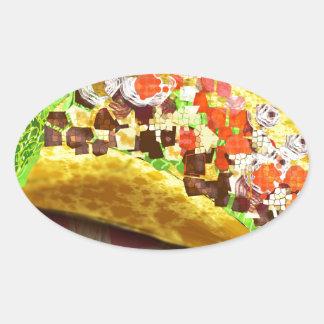 Pixel Taco Oval Sticker