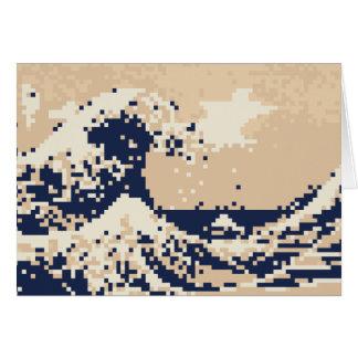 Pixel Tsunami 8 Bit Pixel Art Card