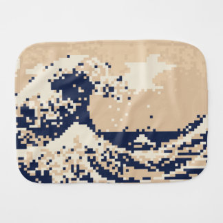 Pixel Tsunami 8 Bit Pixel Art Baby Burp Cloth
