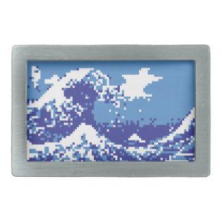 Pixel Tsunami Blue 8 Bit Pixel Art Belt Buckle