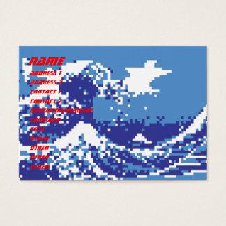 Pixel Tsunami Blue 8 Bit Pixel Art Business Card
