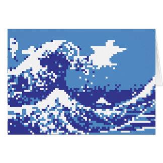 Pixel Tsunami Blue 8 Bit Pixel Art Card