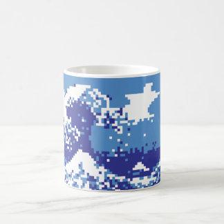 Pixel Tsunami Blue 8 Bit Pixel Art Coffee Mug
