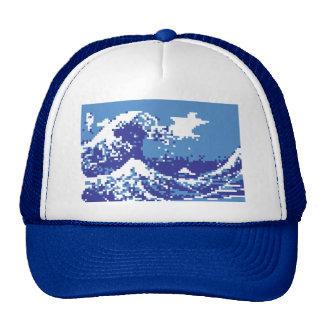Pixel Tsunami Blue 8 Bit Pixel Art Trucker Hats