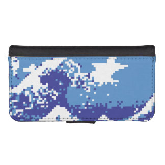 Pixel Tsunami Blue 8 Bit Pixel Art iPhone SE/5/5s Wallet Case