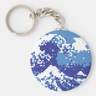 Pixel Tsunami Blue 8 Bit Pixel Art Keychain