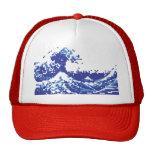 Pixel Tsunami Blue 8 Bit Pixel Art Mesh Hat