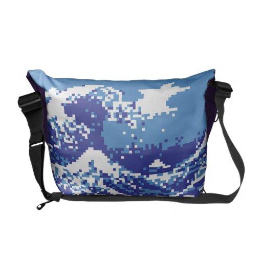 Pixel Tsunami Blue 8 Bit Pixel Art Messenger Bag