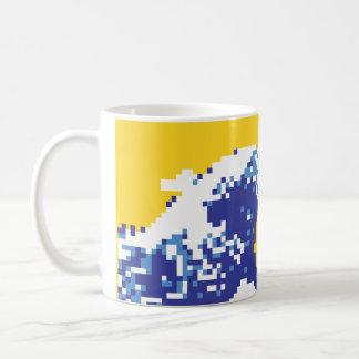 Pixel Tsunami Blue 8 Bit Pixel Art Mugs