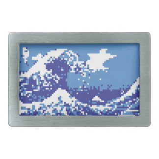 Pixel Tsunami Blue 8 Bit Pixel Art Rectangular Belt Buckle