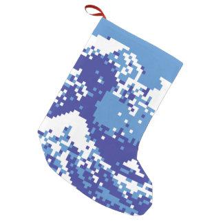 Pixel Tsunami Blue 8 Bit Pixel Art Small Christmas Stocking