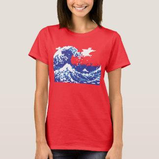 Pixel Tsunami Blue 8 Bit Pixel Art T-Shirt