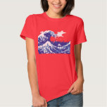Pixel Tsunami Blue 8 Bit Pixel Art Tee Shirt