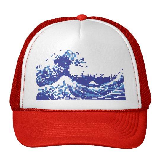 Pixel Tsunami Blue 8 Bit Pixel Art Trucker Hat