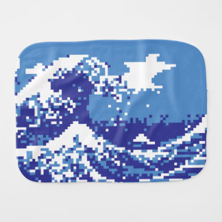 Pixel Tsunami Blue 8 Bit Pixel Art Baby Burp Cloth