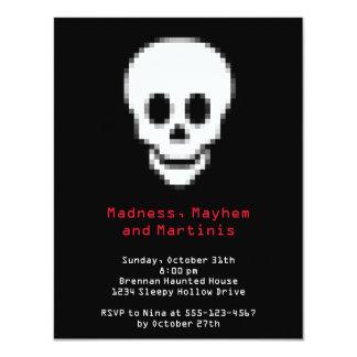 Pixel white skull digital type Halloween party Card