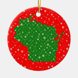 Pixel Wisconsin y copos de nieve en colores pastel Ornamento De Navidad