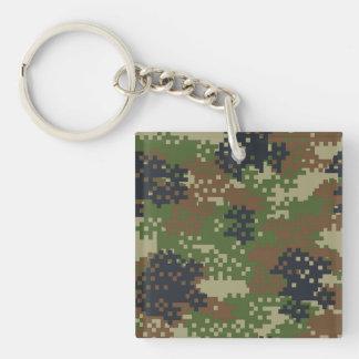 Pixel Woodland Camouflage Keychain