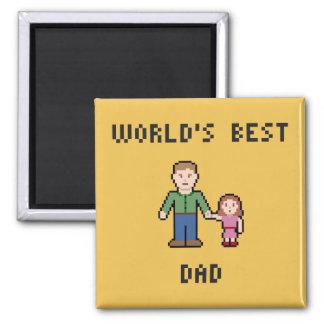 Pixel World's Best Dad Magnet 2 Inch Square Magnet