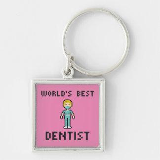 Pixel World's Best Dentist Keychain