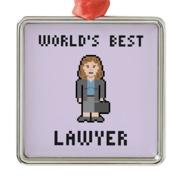 Pixel World's Best Female Lawyer Ornament