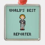 Pixel World's Best Female Reporter Metal Ornament