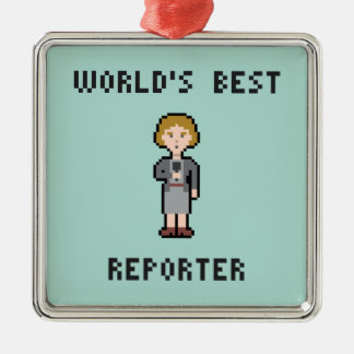 Pixel World's Best Female Reporter Square Metal Christmas Ornament