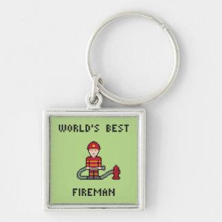 Pixel World's Best Fireman Keychain