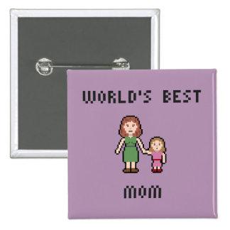 Pixel World's Best Girl Mom Button