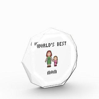 Pixel World's Best Girl Mom Octagonal Award