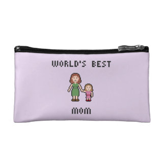 Pixel World's Best Girl Mom Small Cosmetic Bag