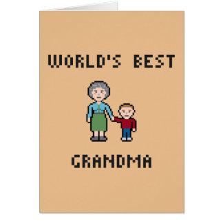 Pixel World's Best Grandma Greeting Card