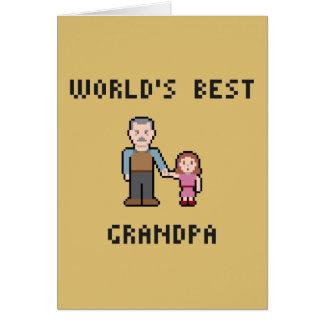 Pixel World's Best Grandpa Greeting Card