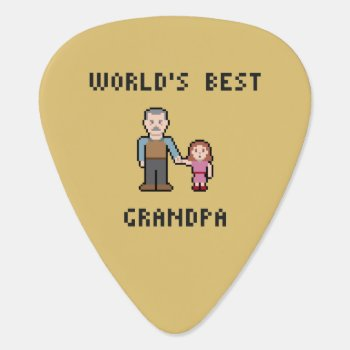 Pixel World's Best Grandpa Guitar Pick by LVMENES at Zazzle
