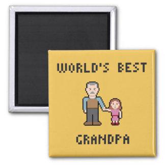 Pixel World's Best Grandpa Magnet
