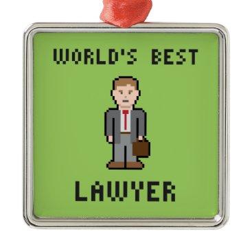 Pixel World's Best Lawyer Ornament