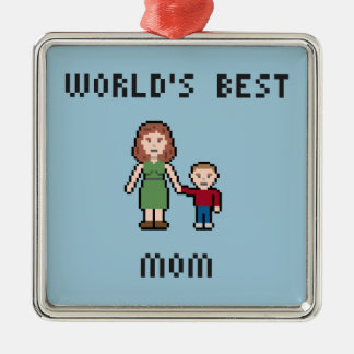 Pixel World's Best Mom Ornament