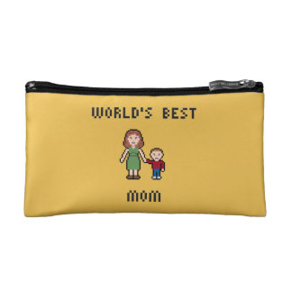 Pixel World's Best Mom Small Cosmetic Bag