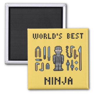 Pixel World's Best Ninja 2 Inch Square Magnet