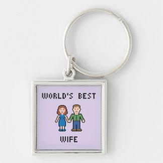 Pixel World's Best Wife Keychain