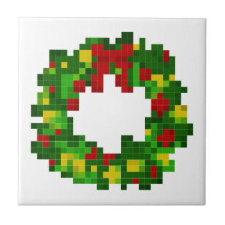 Pixel Wreath Ceramic Tile