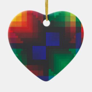 Pixelated Abstract of Coachella Love Ceramic Ornament